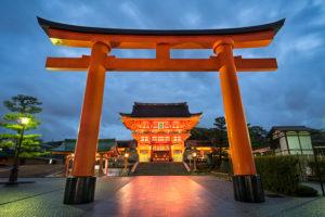 Fushimi Inari Taisha Shrine in Kyoto, Japan at night
