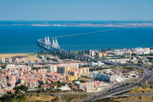 Aerial view of Vasco Da Gama bridge in Lisbon, Portugal. Taken from an airplane