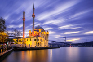 Ortakoy Mosque with Bosphorus Bridge in Istanbul, Turkey at night