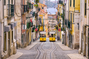 Historic yellow funicular in a steep street in Lisboa, Portugal