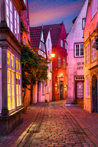 Historic Schnoor district in Bremen, Germany at night
