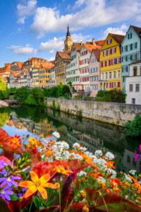 Neckar river and flowers in Tübingen, Germany