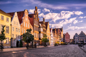 Am Sande square with historic buildings in Lüneburg, Germany