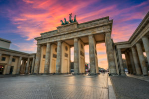 Sunset at the Brandenburg gate in Berlin, Germany