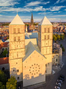 St.-Paulus-Dom with St. Lambert church in the background in Münster, Germany