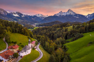 Maria Gern chapel near Berchtesgaden with Watzmann mountain in autumn, Bavaria, Germany