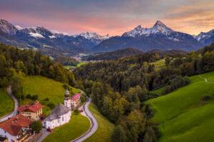Maria Gern chapel near Berchtesgaden with Watzmann mountain in autumn, Bavaria, Germany