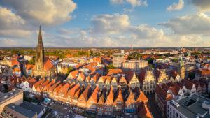 Panorama of the old town of Münster, Germany with Prinzipalmarkt and St. Lambert church