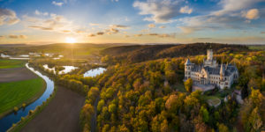 Aerial autumn panorama of the Marienburg castle near Hannover, Germany