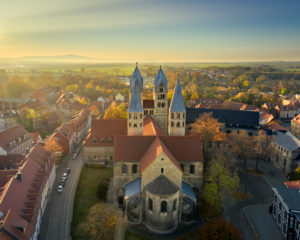 Aerial view of the Liebfrauenkirche in Halberstadt, Germany