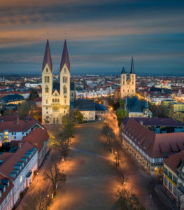Old town of Halberstadt with its famous Gothic cathedral, Germany