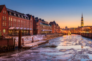 The Speicherstadt district in Hamburg, Germany during winter