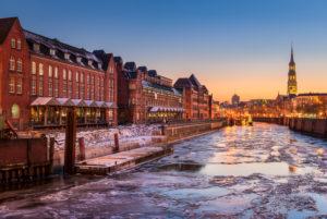 The Speicherstadt district in Hamburg, Germany during winter