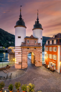 Gate to the old bridge in Heidelberg, Germany