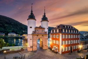Gate to the old bridge in Heidelberg, Germany