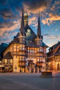 City Hall of Wernigerode, Germany at night
