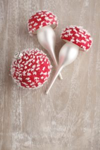 Christmas balls, red, snow-covered, toadstools,