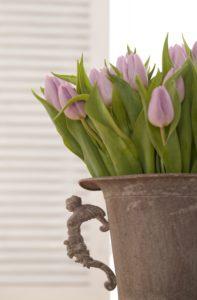 Tulpen, Strauß, Blumenstrauß, Blüten, Blätter,