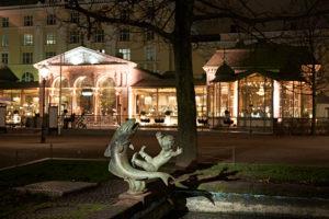 Bronze statue of Viktor Jansson Esplanadi Park in Helsinki, Finland