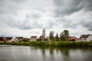 Bavaria, Swabia, river, Wörnitz, Munningen, Catholic parish church of St. Peter and Paul