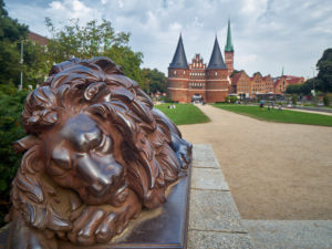 Germany, Schleswig-Holstein, Hanseatic Town of Lübeck, Holsten Gate, lion