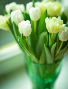 Tulpenstrauß in grüner Vase,