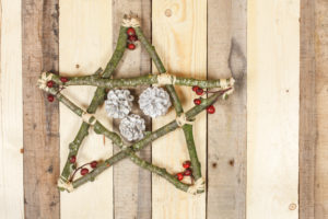 Star made of birchwood on wooden ground, decorative cones, rose hip seeds