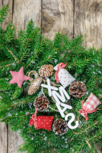 Christmas decoration, star made of fabric,  branch,