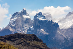 Snow-capped mountains in Torres del Paine National Park, Patagonia, Chile, South America