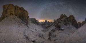 Winter milky way panorama at Grasleiten Pass in South Tyrol