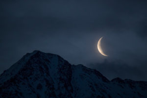 Crescent moon above the Hocheder in Tyrol