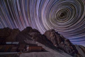 Sternstrichspuren bei der Grasleitenpasshütte in Südtirol
