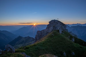 Sunrise on Hoher Burgstall Mountain, Stubai Alps, Tyrol, Austria