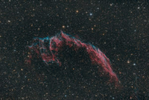 Constellation in the night sky, NGC 6995, 'Bone Hand', Veil Nebula, part of Cygnus Loop, supernova remnant