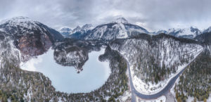Winter drone panorama from the Blindsee at the Fernpass