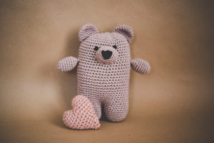 crocheted bear, pink, heart, stilllife