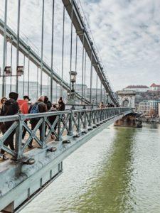 Walk across the Chain Bridge, Budapest, Hungary