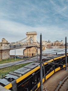 View of Budapest's Chain Bridge as a tram passes by, Hungary