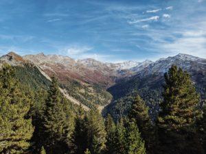 Unterwegs auf dem Tiroler Zirbenweg, Blick ins Tal bei der Boscheben-Hütte