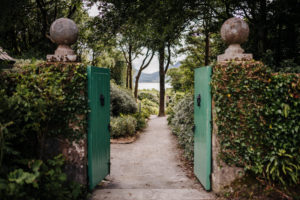 open garden gate, gardens of Glenveagh Castle, Glenveagh National Park, Ireland