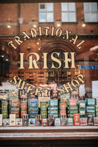 Shop window of a traditional irish sweet shop, Temple Bar district, Dublin, Ireland