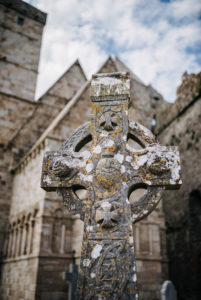celtic cross in front of Cormac's Chapel, Rock of Cashel, Ireland