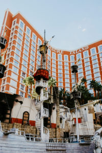 USA, Nevada, Las Vegas. Facade of the Treasure Island Hotel