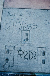 USA, California, Los Angeles, Hollywood Boulevard, Starwar's characters hand and shoe prints of R2D2 at Grauman's Chinese Theater