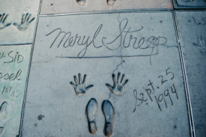 USA, California, Los Angeles, Hollywood Boulevard, world famous hand and shoe prints by Meryl Streep at Grauman's Chinese Theater