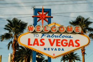 "USA, Nevada, Las Vegas, famous Las Vegas welcome sign ""Welcome to fabulous Las Vegas"""
