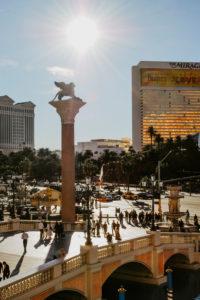 "USA, Nevada, Las Vegas, bridge at Venetian with lion statue ""Lion of St. Mark"""