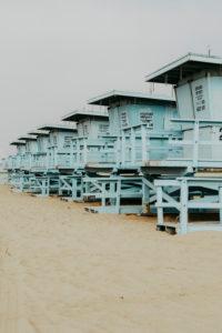 USA, California, Los Angeles, Beach Towers on Venice Beach