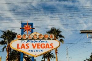 "USA, Nevada, Las Vegas, famous Las Vegas welcome sign ""Welcome to fabulous Las Vegas"""