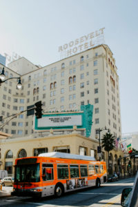 USA, California, Los Angeles, Hollywood Boulevard, facade of the Roosevelt Hotel